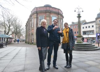 Hilary-Jones- Friends-of-the-Guildhall-co-chair-Council-Leader-Simon-Tagg-Jill-Norman-Support-Staffordshire's-local-manager.