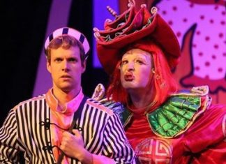 Liam-Burton-as-Aladdin-and-Paul-Deakin-as-Widow-twankey-Aladdin-Panto-Mitchell-Arts-Centre-2019