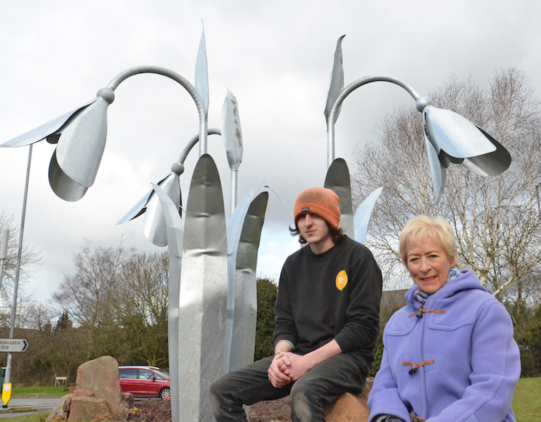 Luke-Steadman-and-Councillor-Jill-Waring-Snowdrop-project-Newcastle-under-Lyme