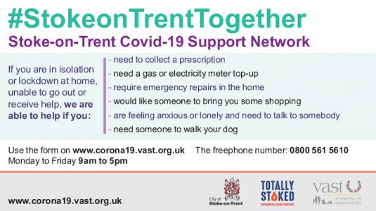 Support Network Stoke-on-Trent during Covid-19.