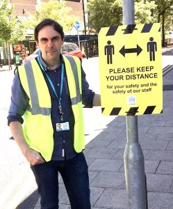 Newcastle-under-Lyme-council-leader-Simon-Tagg-and-social-distancing-signage-june-2020